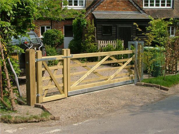 Garden Gates Design Gates With A Single Swing Gate And Larger Manual  Sliding Gate