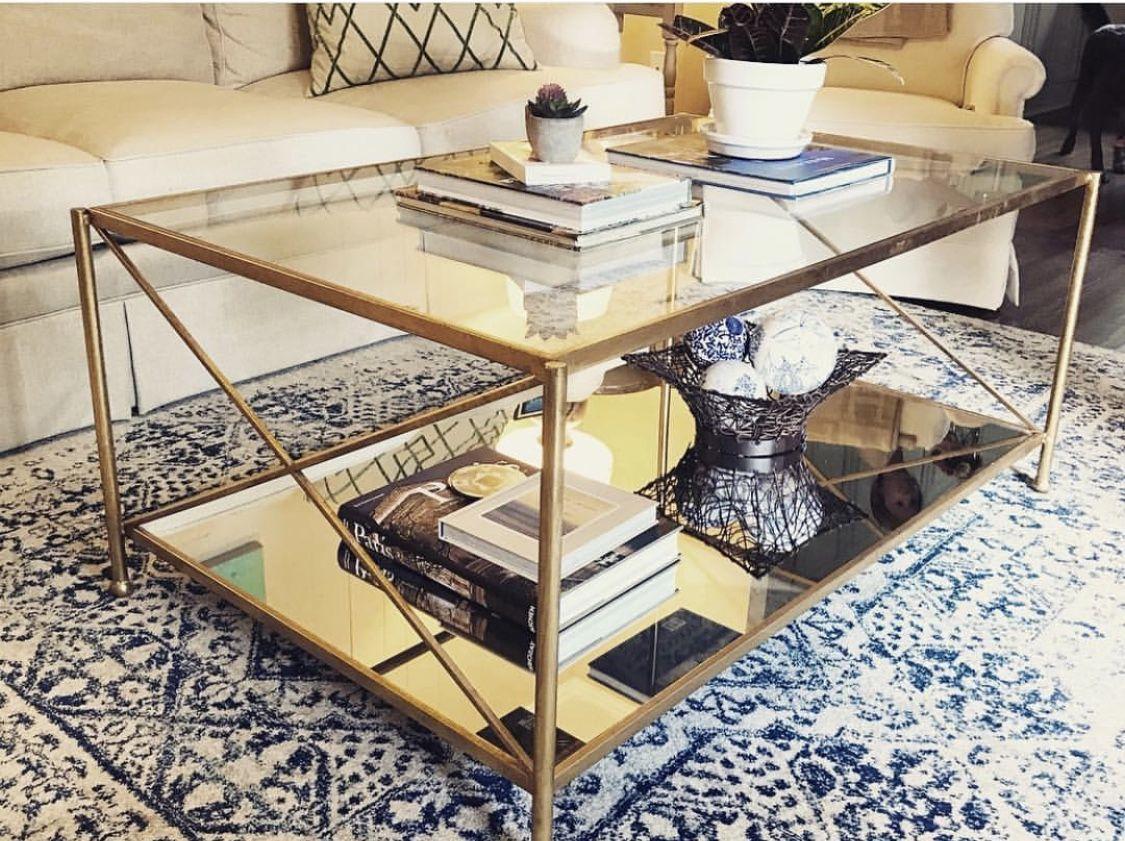 iris gold leaf 2 shelves coffee table