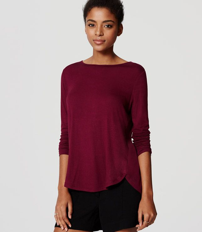 Primary Image of Petite Seamed Shirttail Tee