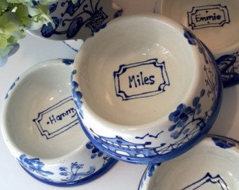 Porcelain Magnolia Blossom By Indigohome On Etsy Pet Bowls Blue And White Bowl