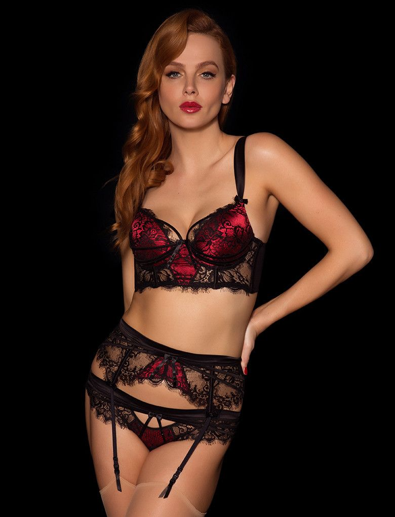 a04ea16844a7f Madame Black & Red Suspender Brief Set - Honey Birdette - Lingerie Set - 1