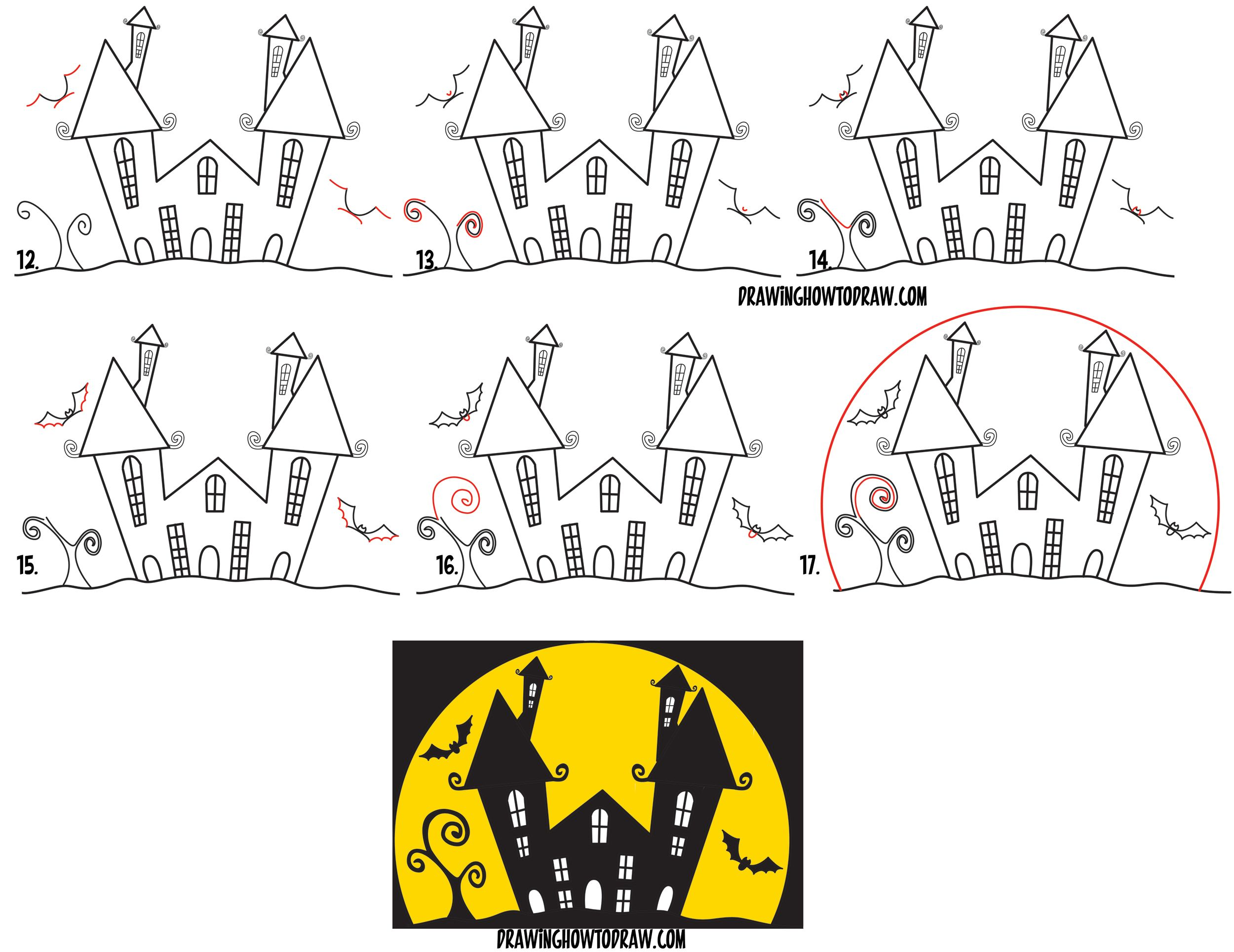 How to Draw a Cartoon Haunted House Step by Step in