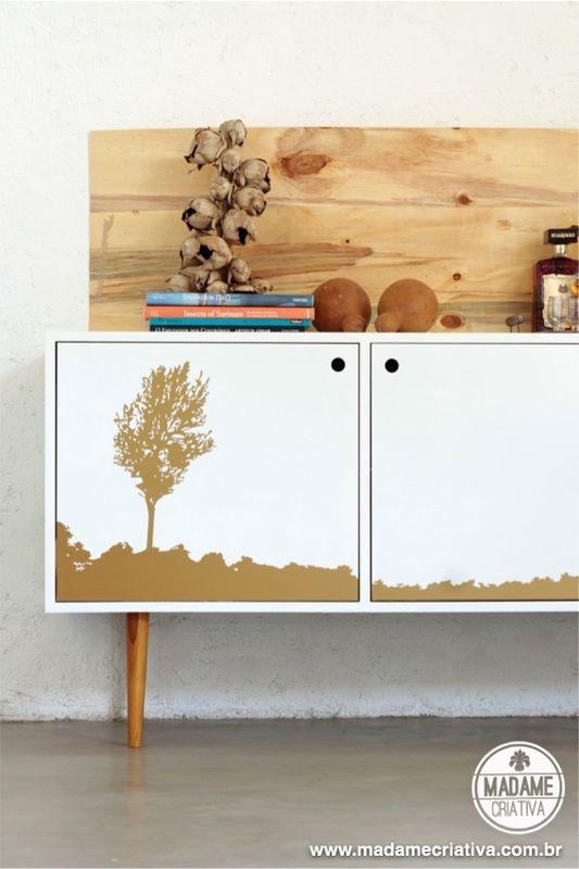 f51e16cf3f3f3 Veja o passo a passo como adesivar um móvel para mudar a decoração - Vinil  adesivo Silhouette Brasil - DIY - How to remodel furniture using vynil ...