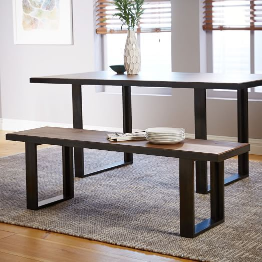 Industrial Oak + Steel Dining Bench | West Elm