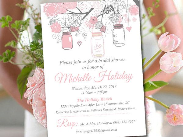 Bridal Shower Template Rustic Bridal Shower Invitation Template  Mason Jar Wedding Shower .