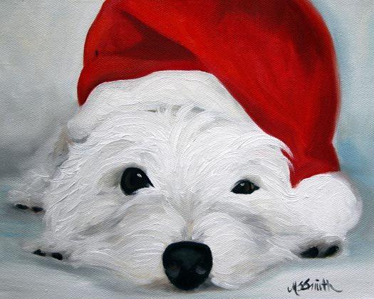 IMPRESIÓN Westie West Highland Terrier para perros Navidad Santa ...