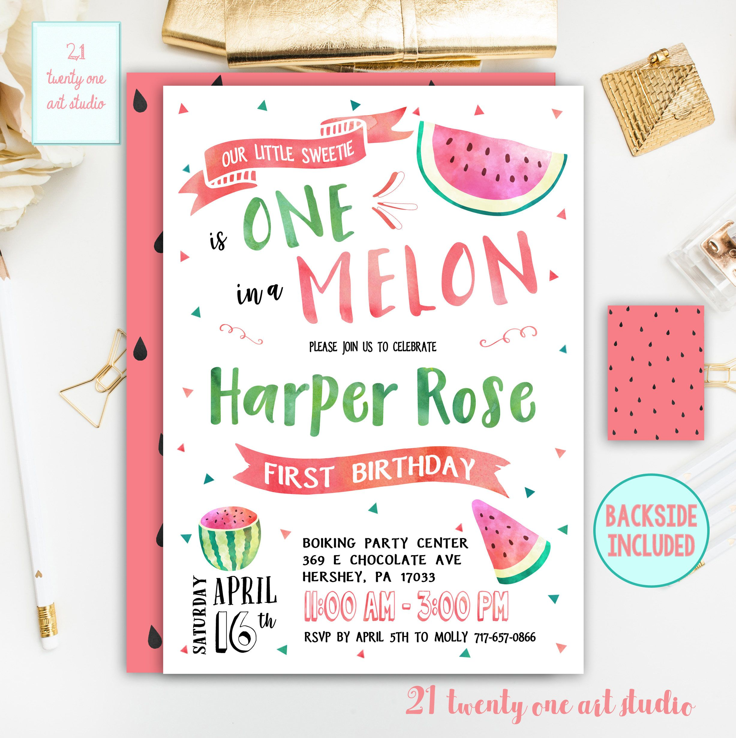 Watermelon Birthday Invitation, One in a Melon First Birthday Invite ...