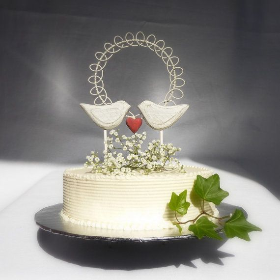 Bird Cake Topper  Rustic Wedding Cake Topper by WoodenHeartButtons, $42.00