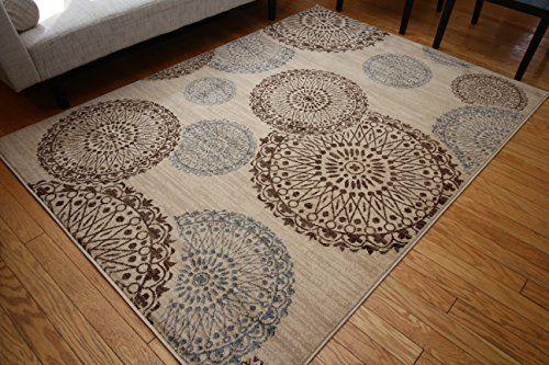 New City Contemporary Brown Beige Modern Flowers Circles