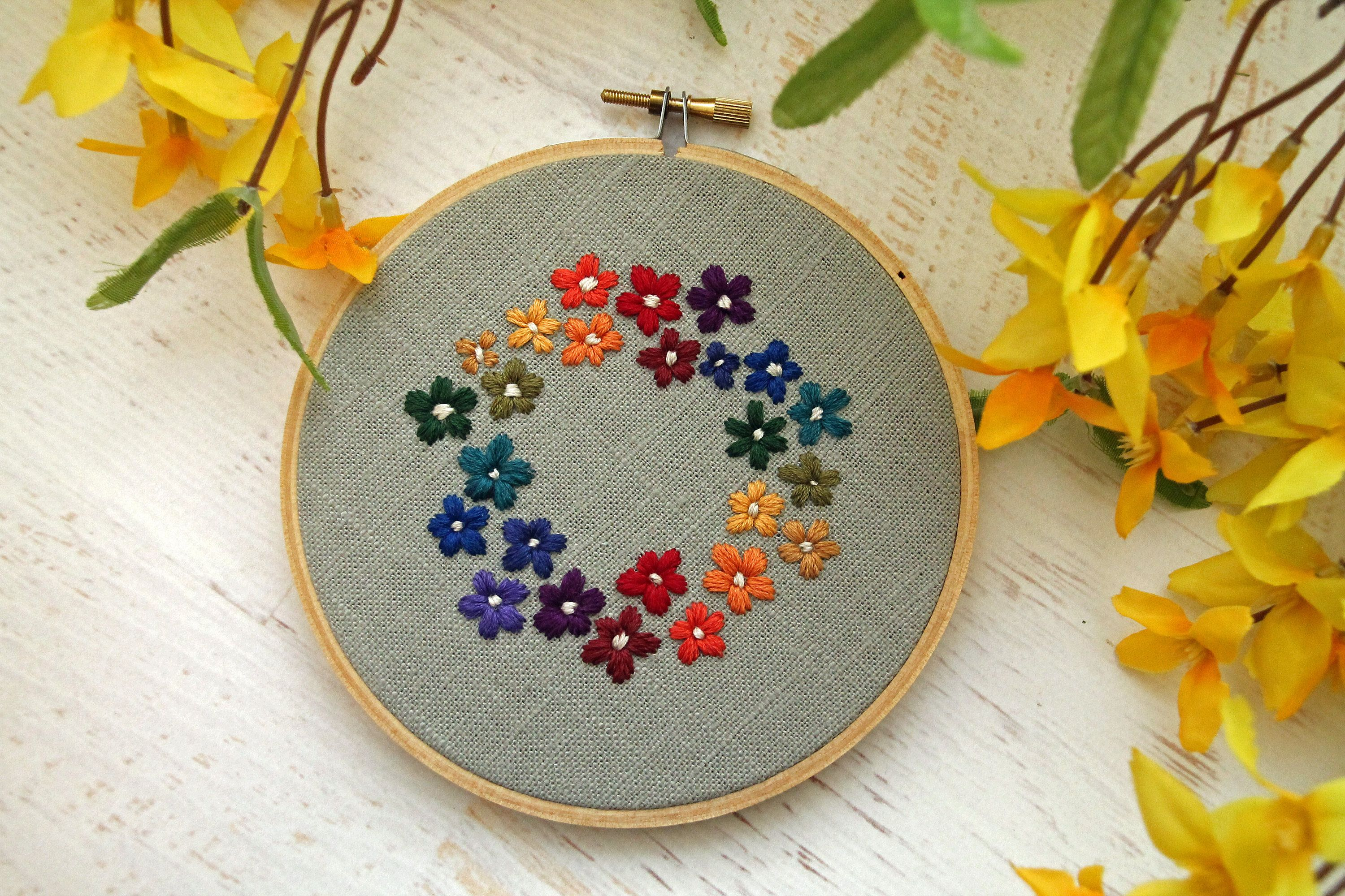 Bright rainbow floral bouquet wreath embroidery hoop art pink