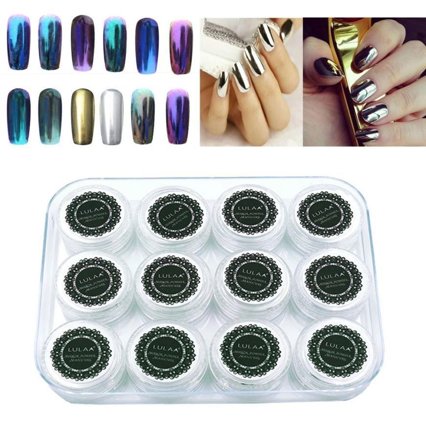 1 Set Nail Art Tools 12 Colors Nail Art Shinning Mirror Glitter ...