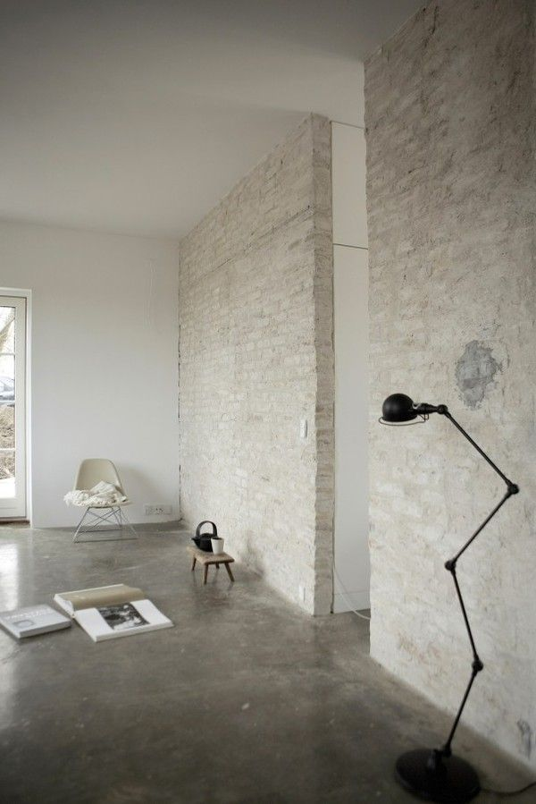 Raw Rendered Wall In Contrast To Crisp White Walls Concrete Floor White Brick Walls Bright Apartment Modern Interior