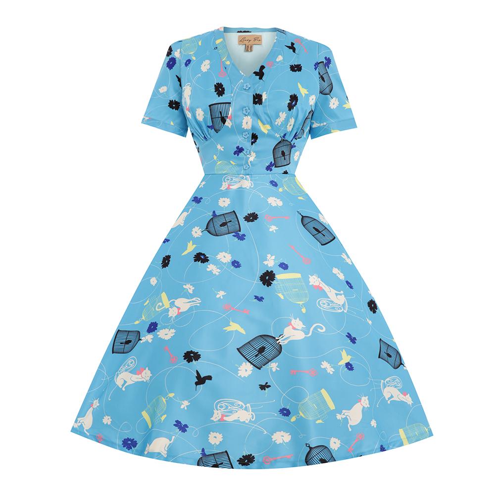 Ionia\' Turquoise Birdcage Cat Print Tea Dress | Turquoise, Cat ...