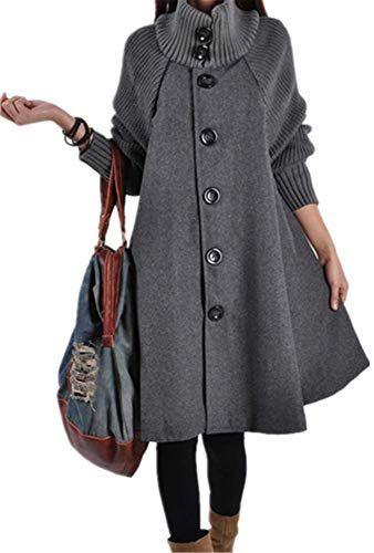 YOGLY Mantel Damen Winter Jacke mit Stricken lang ...