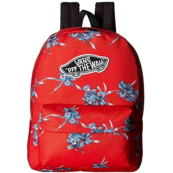 2d55bab350 Vans Realm Backpack (Tomato Hawaiian) Backpack Bags ( 31) ❤ liked on  Polyvore featuring bags