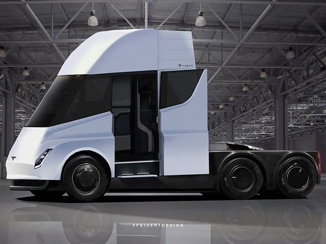 This Is What Tesla S Electric Semi Truck Will Probably Look Like Semi Trucks Tesla Tesla Semi Truck
