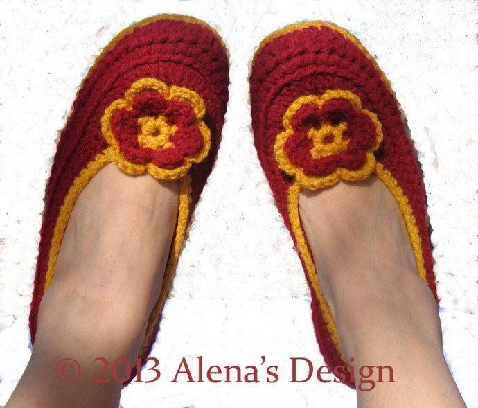 5db0801081481 Crochet Pattern 074 Women's Slippers Amy in seven sizes Teen Ladies ...