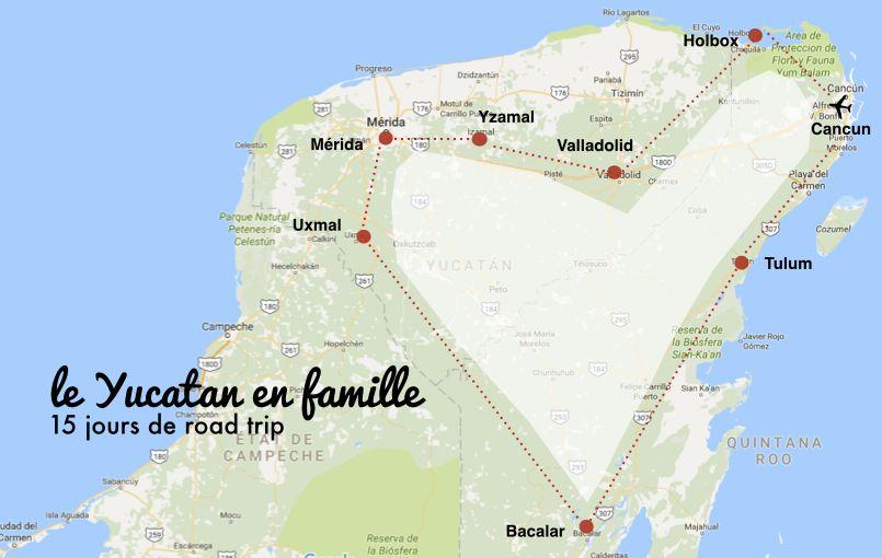 Carte Yucatan Quintana Roo.Carte Itineraire Road Trip Yucatan En Famille Mexique