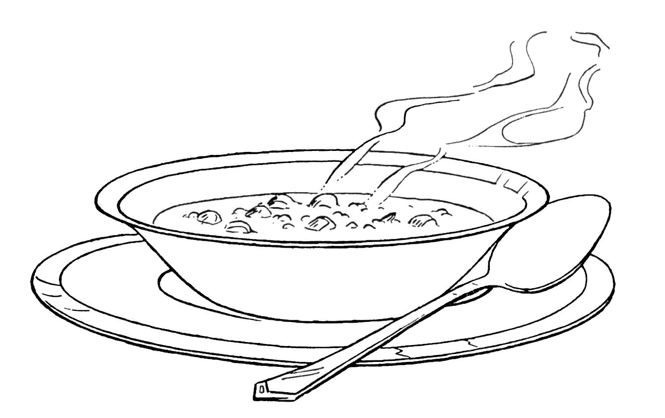 One Serving Of Warm Soup Coloring Pages Bowl Of Soup Food Coloring Pages Three Beans