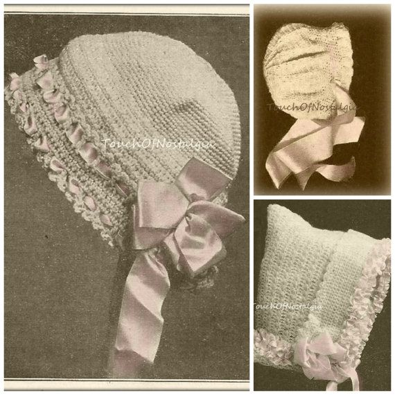 4 Fancy Baby Bonnets Antique Crochet Patterns 4 Beautiful Styles