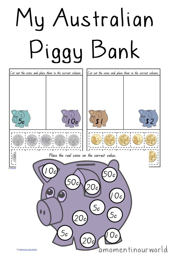australian piggy bank school ideas pinterest teaching money money worksheets and. Black Bedroom Furniture Sets. Home Design Ideas