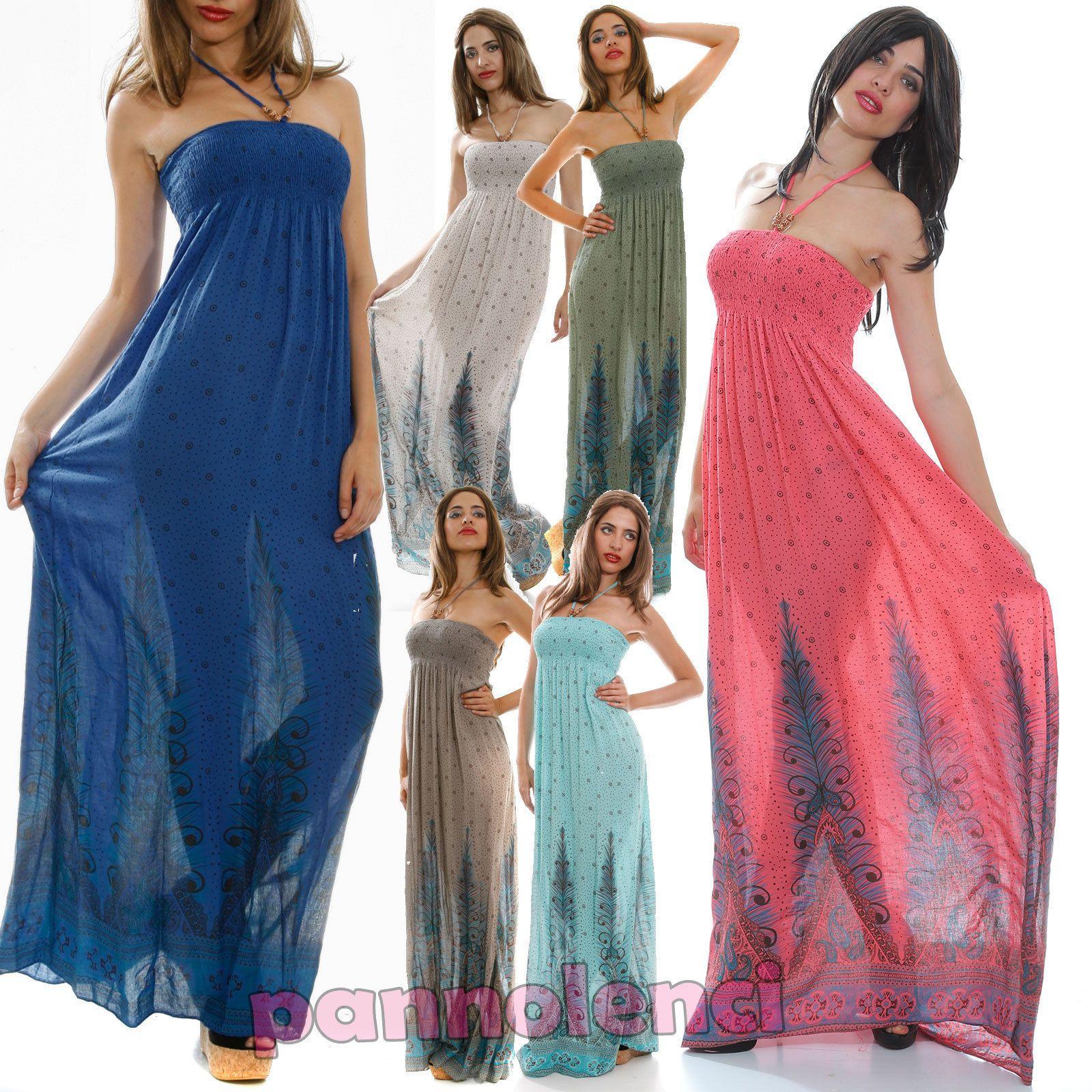 super popular d4cf7 9a27e Abito lungo vestito donna maxidress vestitino copricostume ...