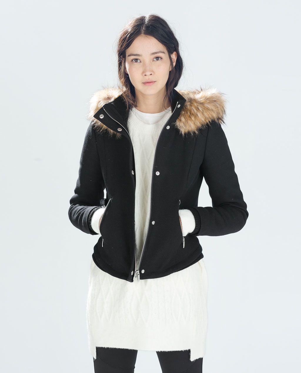 Jacket With Fur Hood Trf New This Week Zara United States Short Black Jacket Fur Hood Jacket Jackets [ 1269 x 1024 Pixel ]