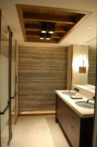 Love The Wood Tile On The Wall As An Accent False Ceiling Design Stone Tile Bathroom False Ceiling Bedroom Small bathroom bathroom ceiling design