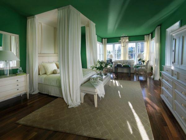 grüne-wandgestaltung-für-schlafzimmer-mit-weißen-gardinen Nähen - gardine f r schlafzimmer