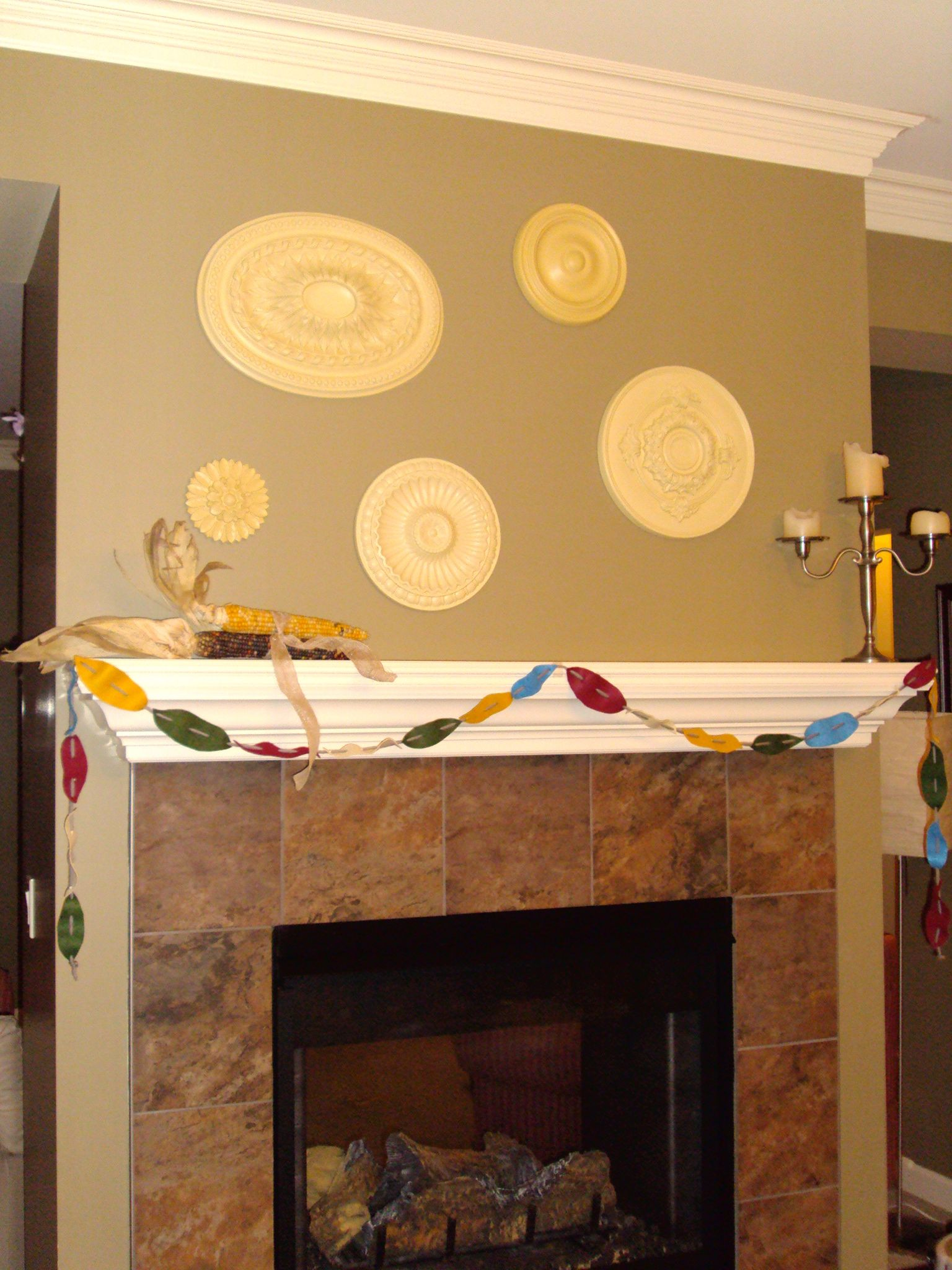 Ceiling medallions; Felted Leaf Garland | My Completed Pinterest ...
