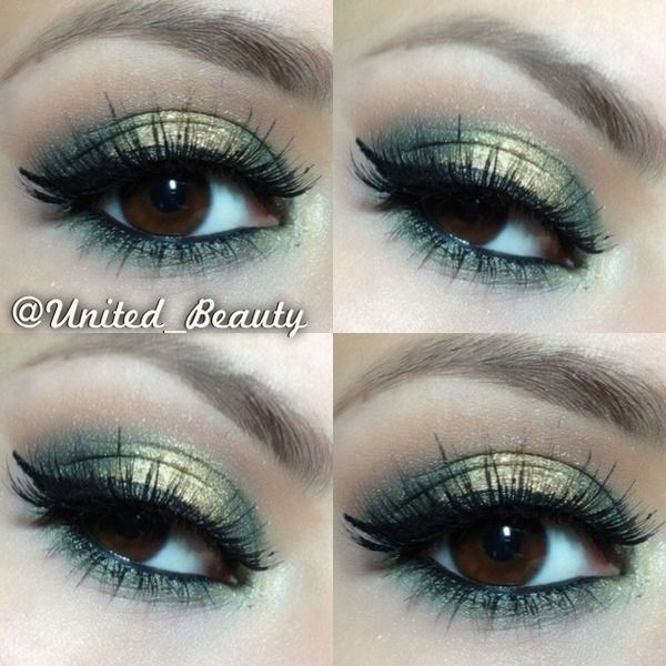 Mary Kay St. Patricks day look-use shimmering gold all over lid, then emerald in the outer corners and close to upper and lower lash line. finish with liquid liner in black!