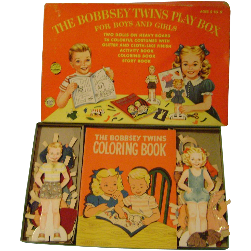 Vintage Bobbsey Twins Paper Dolls And Activity Books In Orginal Box Paper Dolls Book Activities Dolls