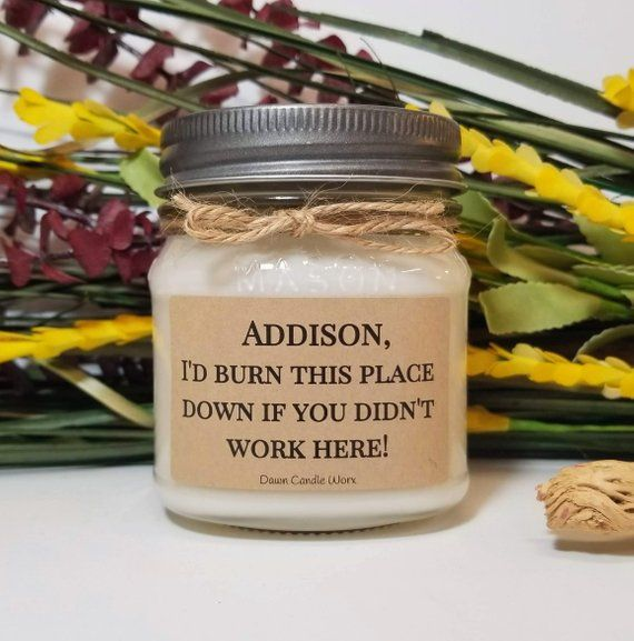 647bab17e6e78 Funny Coworker Gift - Personalized Gift - 8oz Soy Candles - Office ...