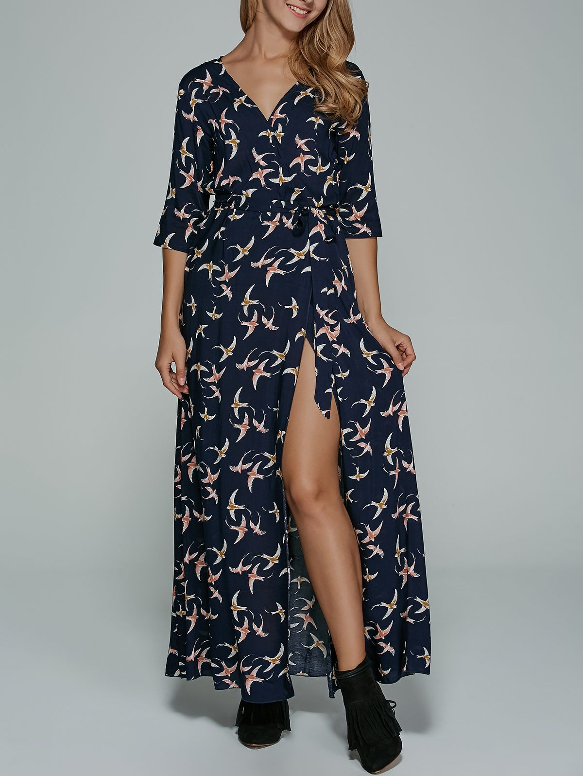 Plunging neck printed wrap maxi dress modern chic and edgy