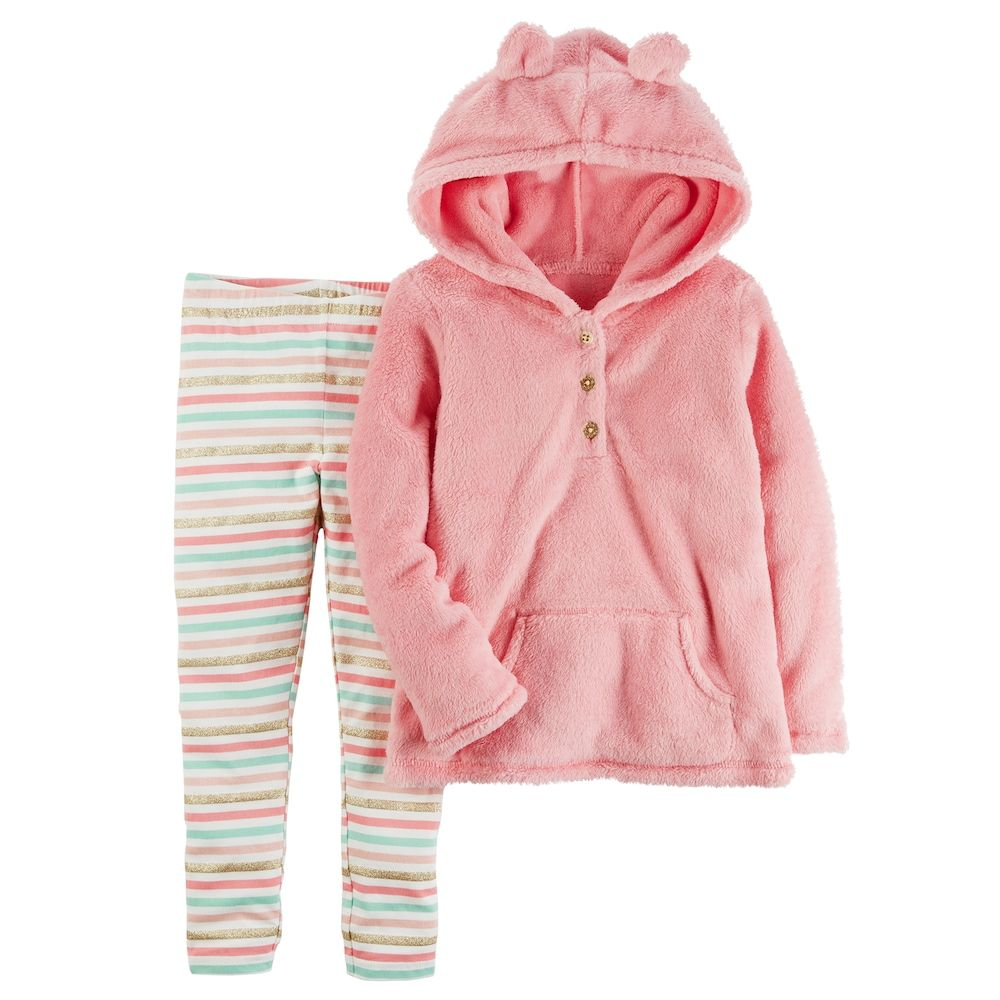 54c5abfa7 Baby Girl Carter s 3D Ear Sherpa Hoodie   Striped Leggings Set ...
