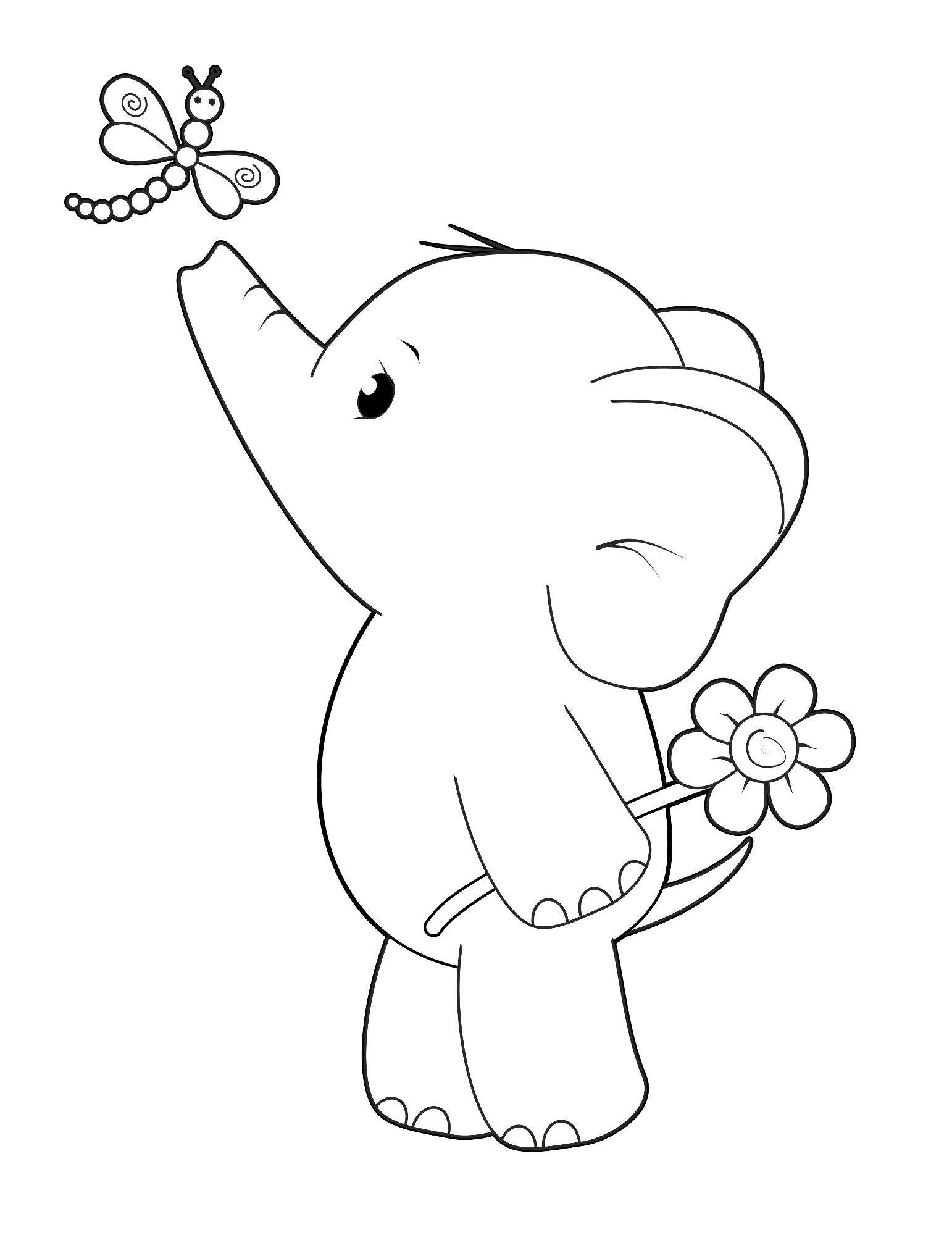 Free Digi Stamp Ella With Dragonfly Cute Elephant Simply