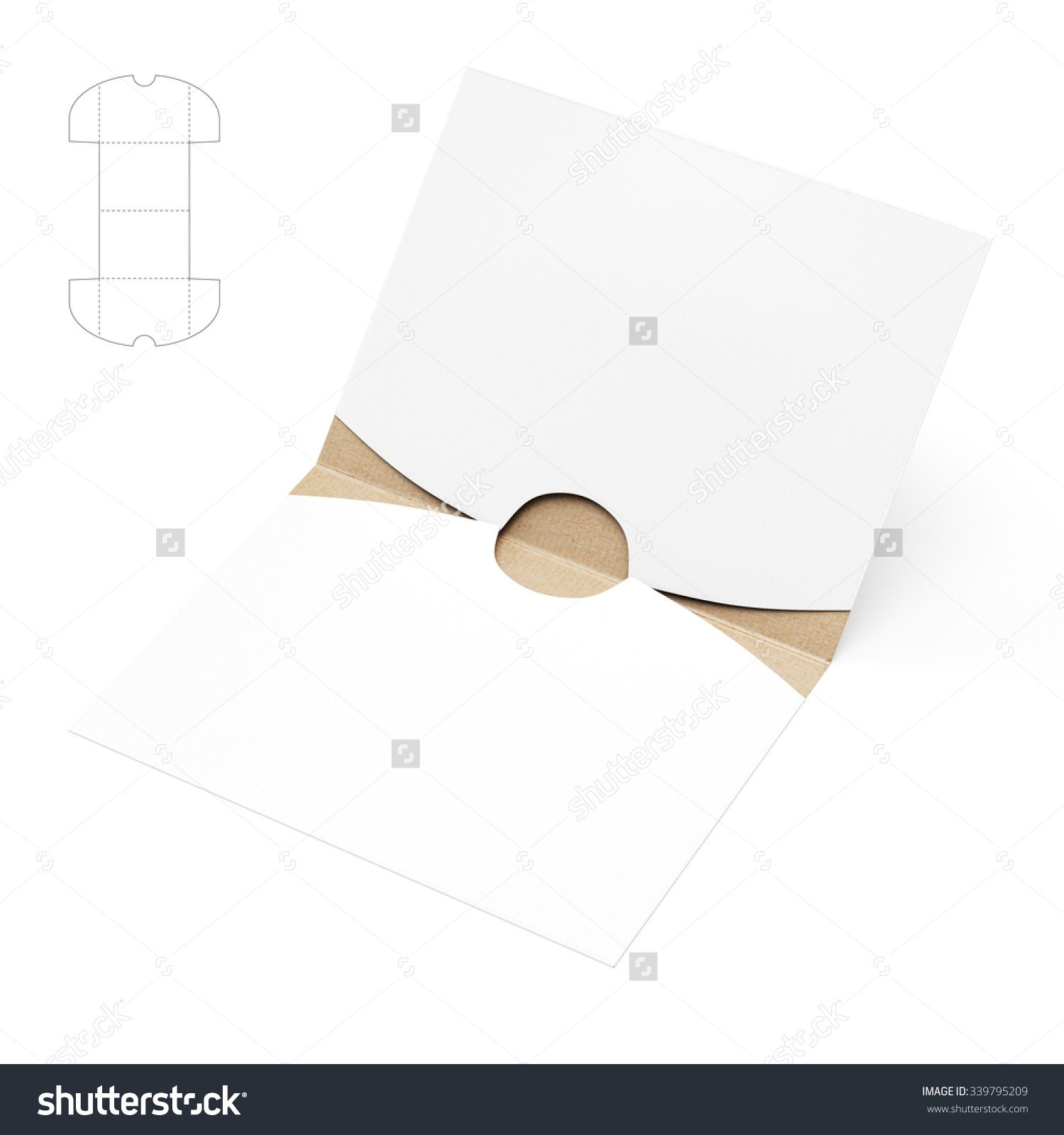 Empty Square Folder With Die Cut Template Stock Photo 339795209 : Shutterstock