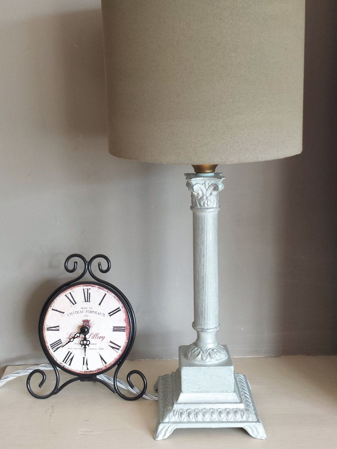 Duck Egg Table Lamp Base Upcycled In Pale Annie Sloan Chalk Paint Heavy Opal Pewter Gilding Silver Fabric Cabl Metal Lamp Table Lamp Base