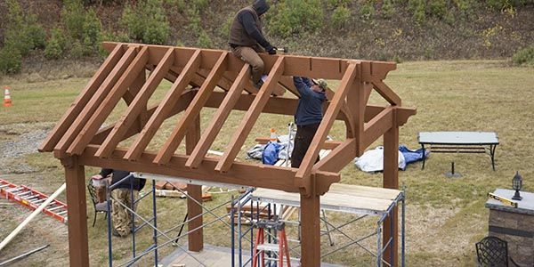 western timber frame pavilion erecting roof rafters