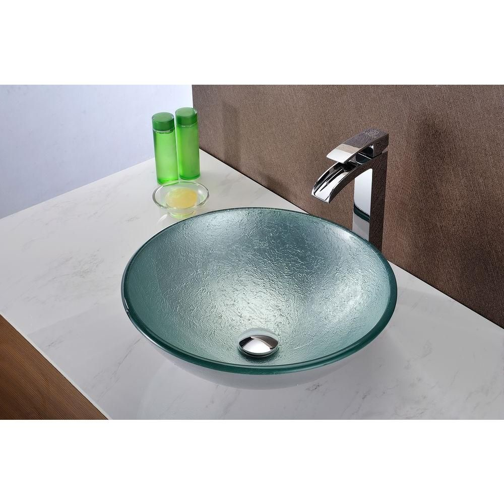 Anzzi Spirito Series Deco Glass Vessel Sink In Churning Silver Ls
