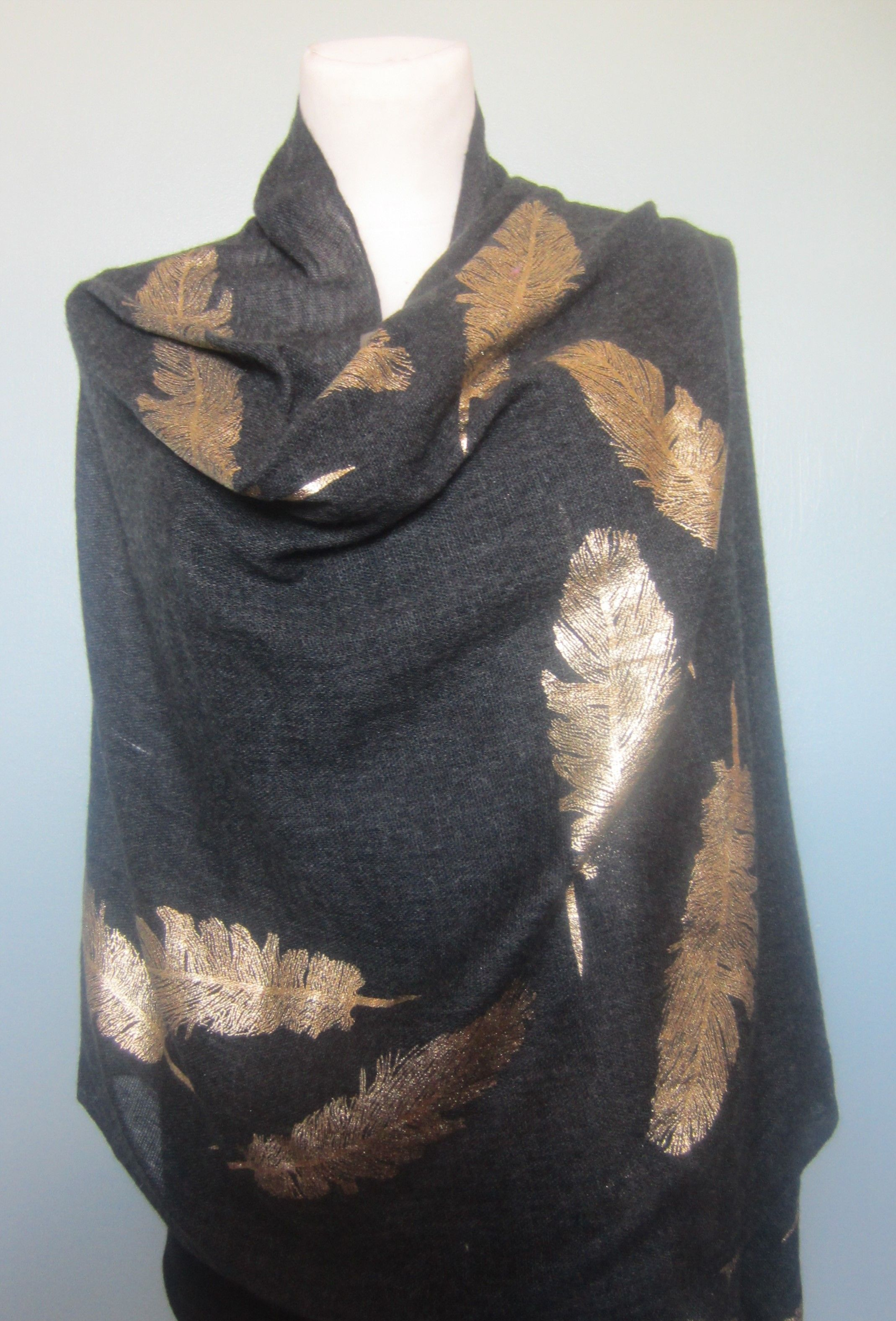 Black   Charcoal Cashmere pashmina   shawl   wrap  scarf. With Gold Feather  design. Many more beautiful varieties available at Cashmere and lace Store  ... fe72d87addf