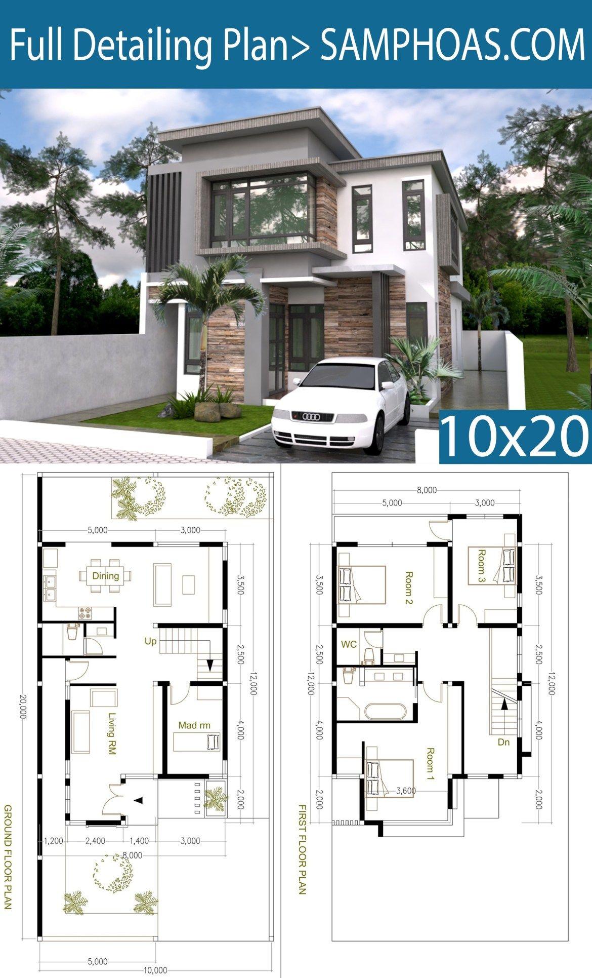 4 Bedroom Modern Home Plan Size 8x12m Samphoas Plansearch Model House Plan Dream House Plans Modern House Plans
