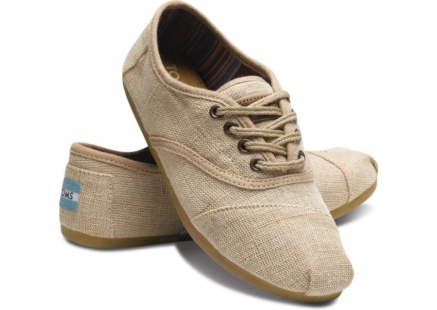 lace-up burlap toms - with different laces these would be perfect