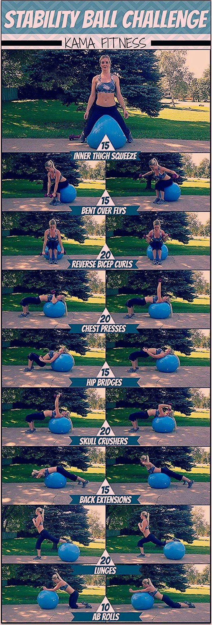stability ball challenge, guaranteed to make you sweat. courageouspaths.com #fitness #exercise #stre...