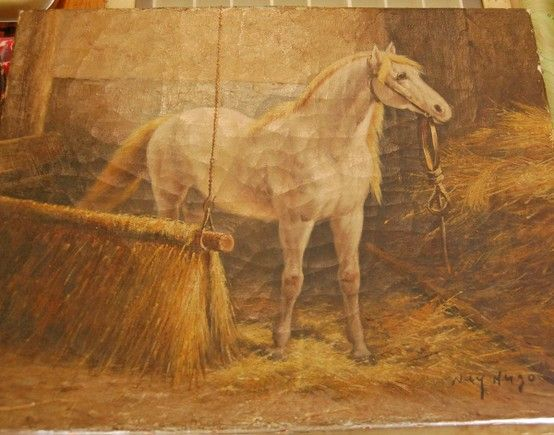 Horse oil painting, found at a vintage sale in Lancaster County, PA.