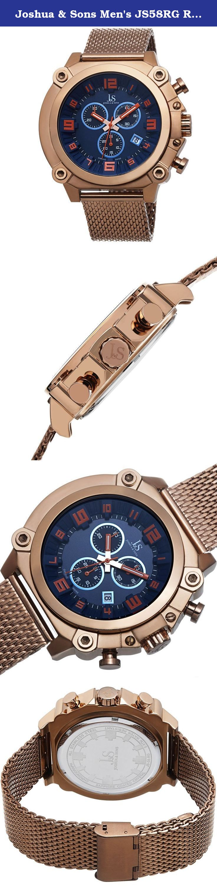 d14a2015d5b Joshua   Sons Men s JS58RG Rose Gold Multifunction Swiss Quartz Watch With  Blue Dial and Rose