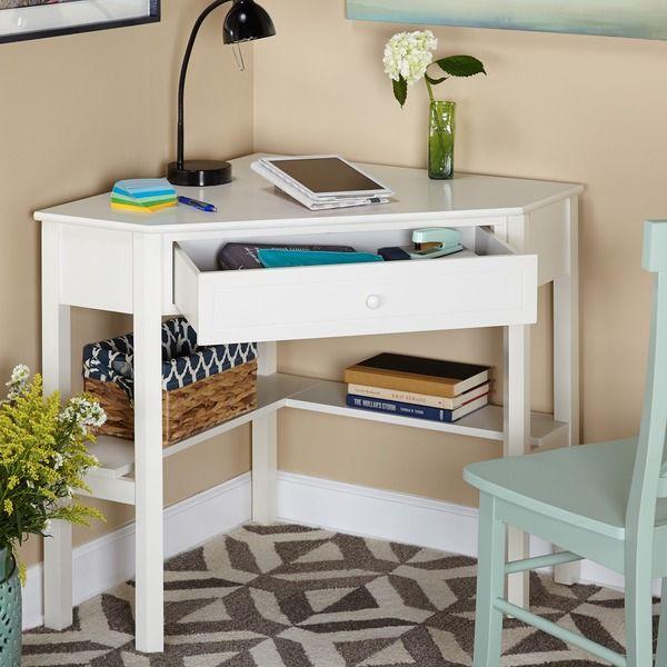 Simple Living Antique White Wood Corner Computer Desk Desks For