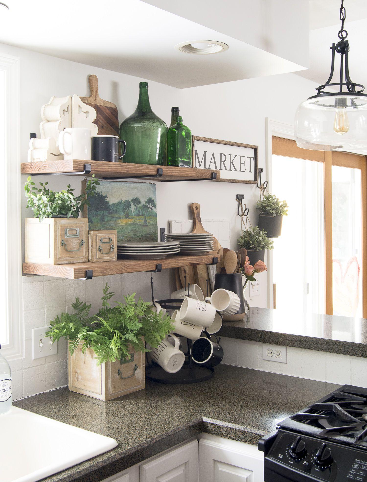 How to Decorate Kitchen Shelves  Kitchen shelf decor, Open