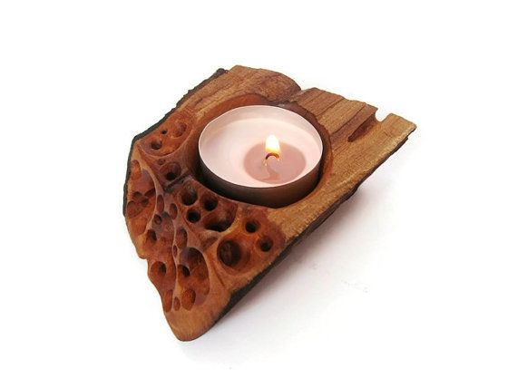 Original wooden candle #holder, hand carved, made from plum wood. Unique design. Impregnate with linen oil and beeswax to save the color and softness of the wood. Made to br... #zentealight #woodart #zenwooddecor #candles