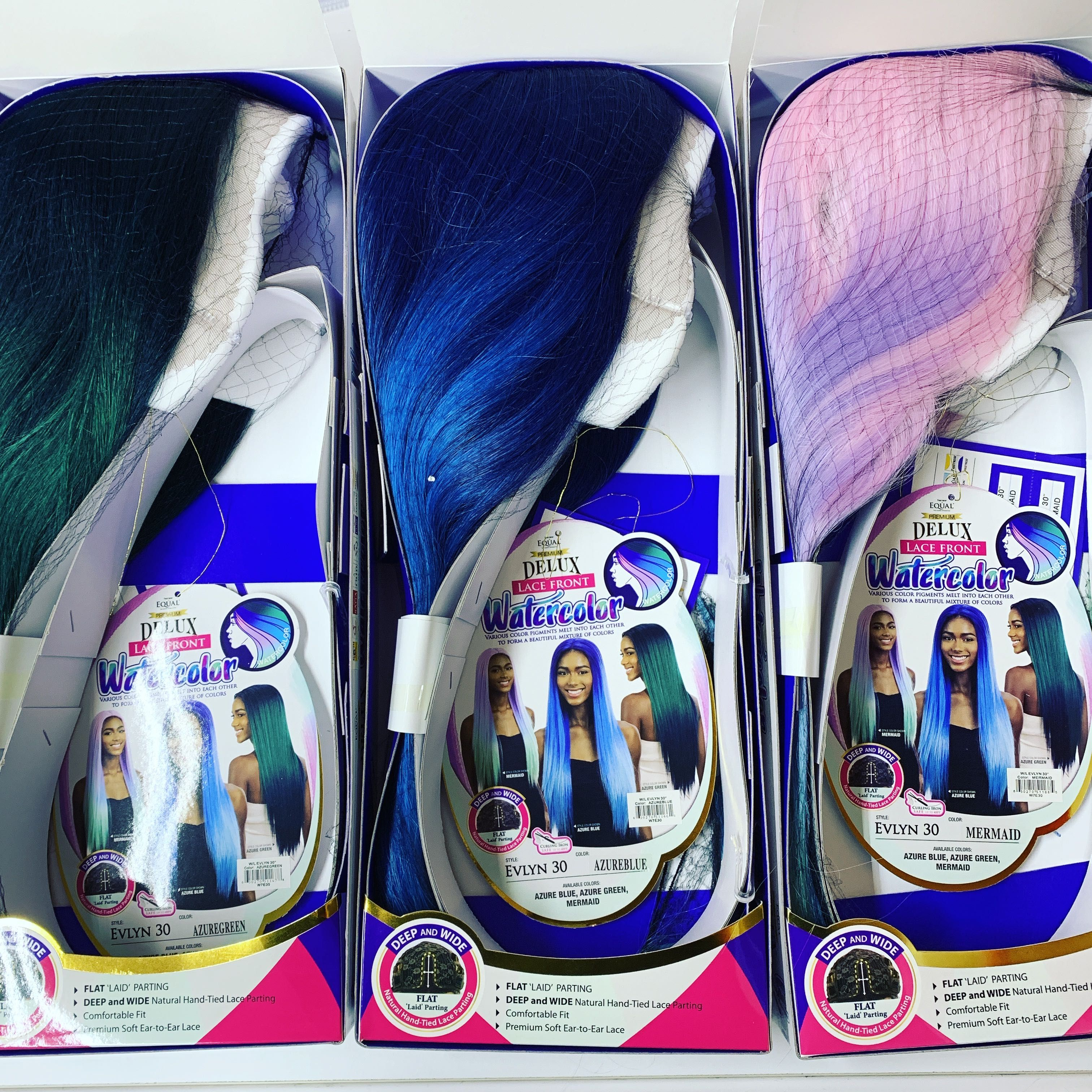 Long Straight Lace Wig In Color Azure Blue Mermaid And Azure